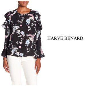 Harve Benard Black Pink Ruffle Print Blouse Sz M